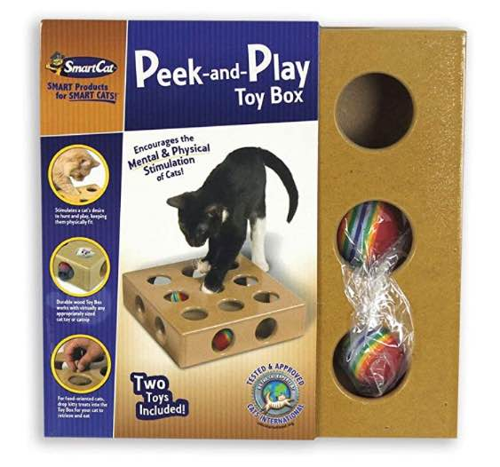 peek and play toy box - interactive cat toy